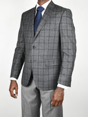 Grey/Blue Wool/Silk/Linen Plaid Sport Coat