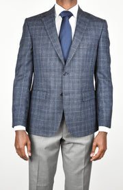 High Blue Wool/Silk/Linen Plaid Sport Coat