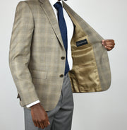 Taupe Plaid Wool/Silk/Linen Sport Coat