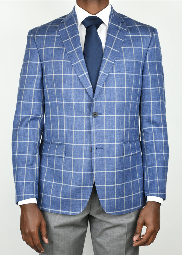Blue Windowpane Wool/Silk/Linen Sport Coat