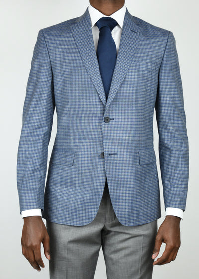 Blue Check Wool/Silk/Linen Sport Coat