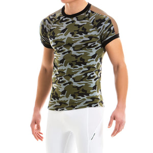 Camo C-Through T-Shirt - Khaki - Modus Vivendi - trender-wear.myshopify.com