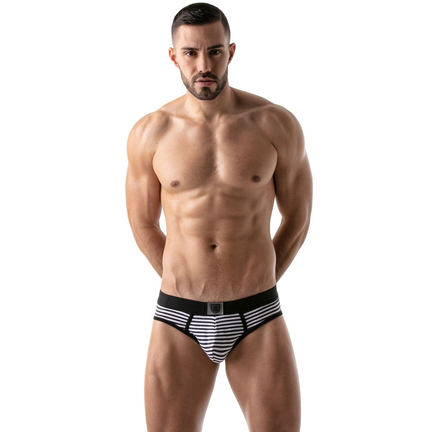 Stripes Push-Up Bottomless Brief - Black/Navy