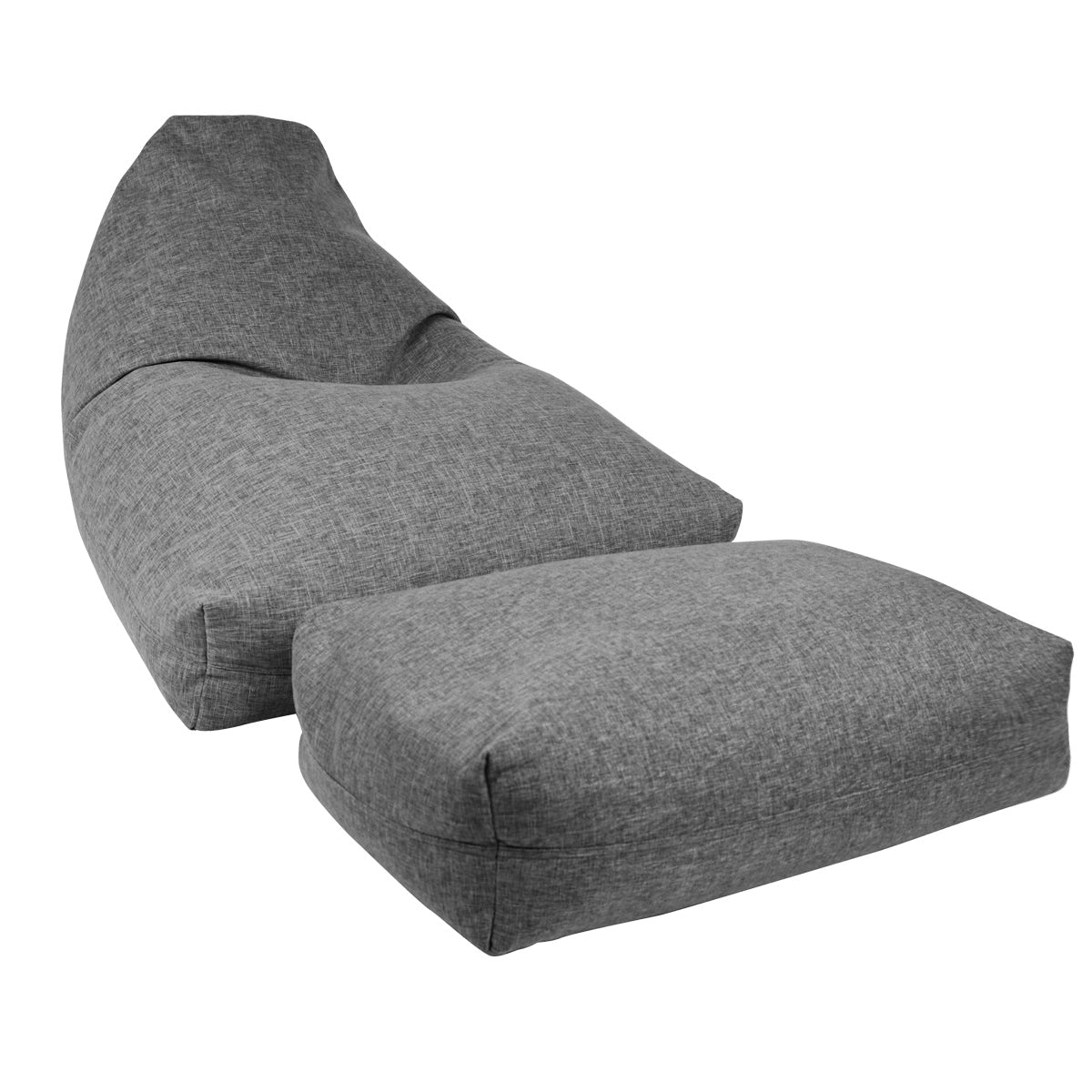 Moby Bean Bag + Ottoman in Grey