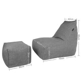 Vetro Bean Bag + Ottoman in Grey - Ministry of Chair