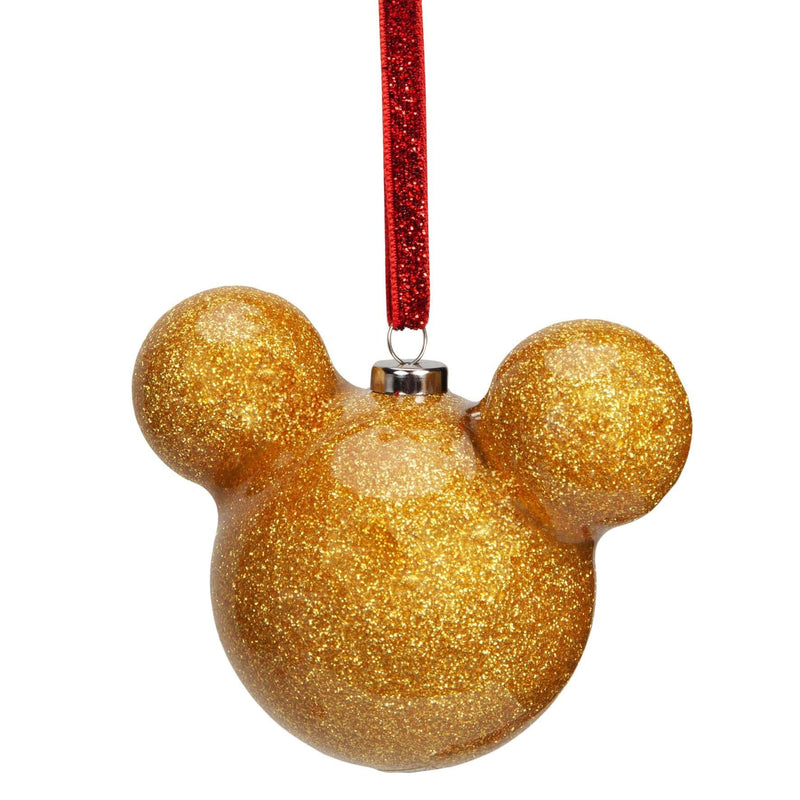 Mickey Mouse Gold Glitter Bauble