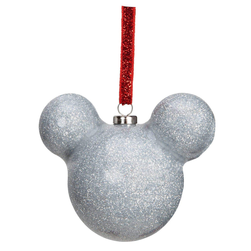 Mickey Mouse Silver Glitter Bauble