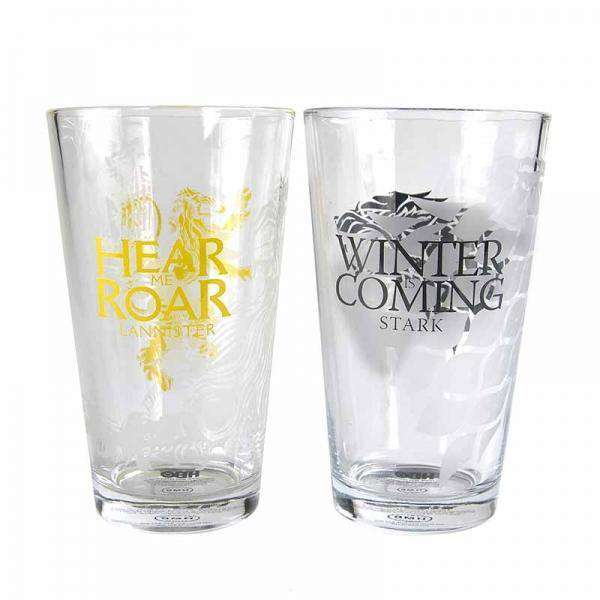Game of Thrones Large Glasses (Set of 2) - Stark & Lannister - Olleke | Disney and Harry Potter Merchandise shop