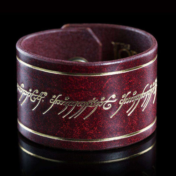 Lord of the Rings Leather Cuff The One Ring Inscription Olleke | Disney and Harry Potter Merchandise shop Weta Workshop