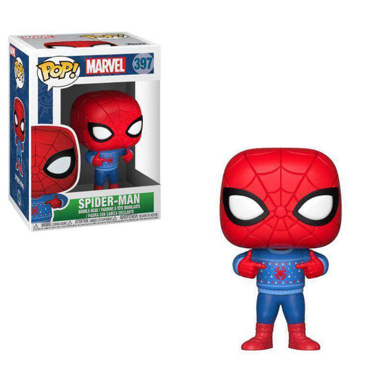 Films & Series - Marvel Comics POP! Marvel Holiday Vinyl Bobble-Head Spider-Man (Ugly Sweater)