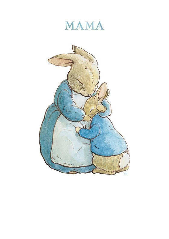 Stationary - Peter Rabbit Card: Mrs Rabbit Hugging Peter Rabbit 'Mama'