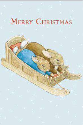 Peter Rabbit Card: Peter and Benjamin Sledging Merry Christmas Olleke | Disney and Harry Potter Merchandise shop Hype