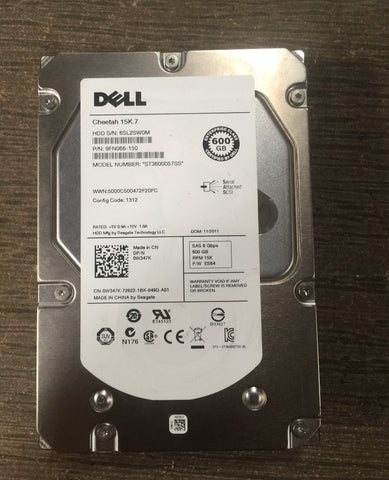 Genuine Dell Cheetah 9FN066 600GB 6Gbps 15K.7 SAS Hard Drive - Clean Label