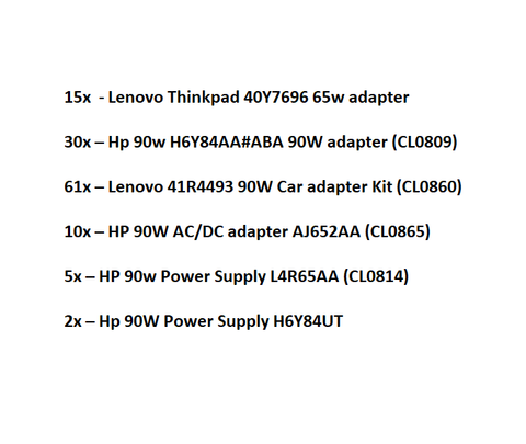 Variety of Laptop Adapters