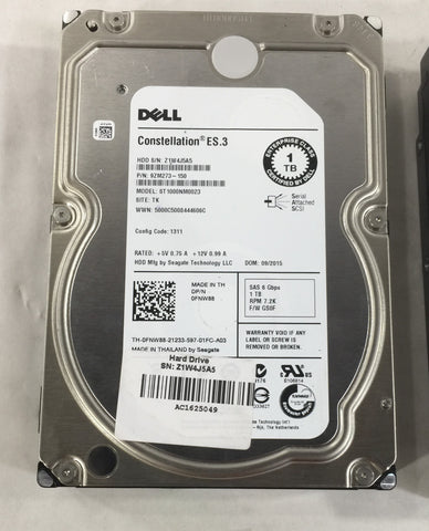 Lot of 5 Dell 1TB Server Hard Drives (See Description for more details)