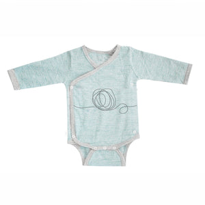 Merino Kids Long Sleeve Cocooi Bodysuit - Aoraki Light Green/Light Grey