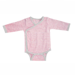 Merino Kids Long Sleeve Cocooi Bodysuit - Aoraki Light Pink/Light Grey