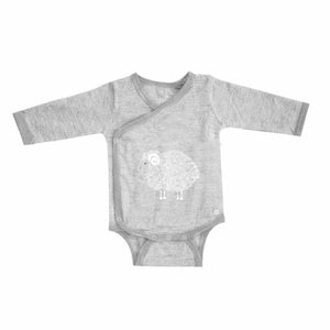 Merino Kids Long Sleeve Cocooi Bodysuit - Aoraki Light Grey/Grey