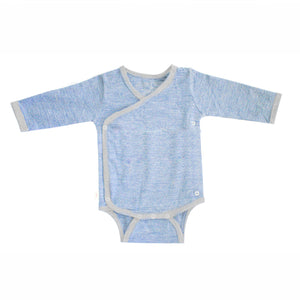 Merino Kids Long Sleeve Cocooi Bodysuit - Aoraki Sky/Light Grey