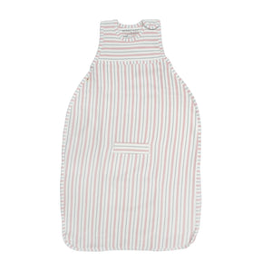 Merino Kids Go Go Sleeping Bag - Duvet Weight - Dusky Pink & Light Grey Stripe