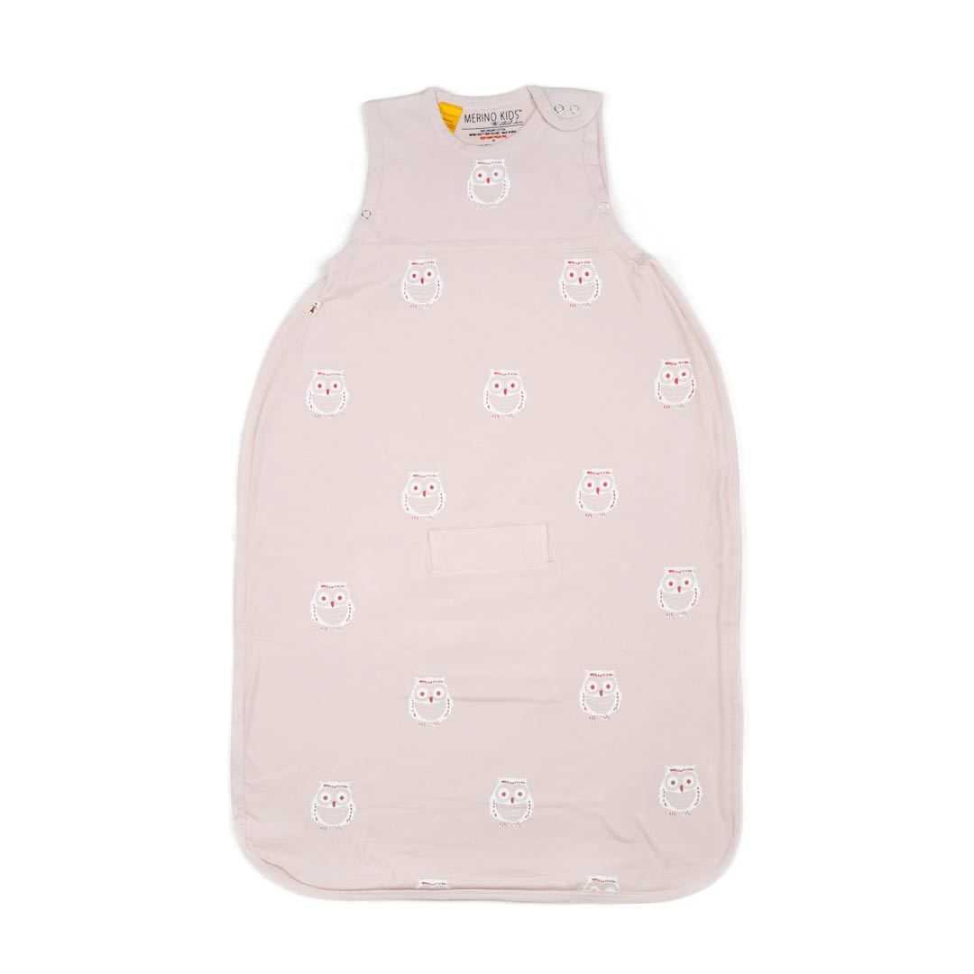 Merino Kids Go Go Baby Sleeping Bag - Standard - Owl Print Light Pink