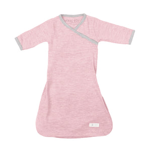 Merino Kids Cocooi Gown - Aoraki Light Pink/Light Grey