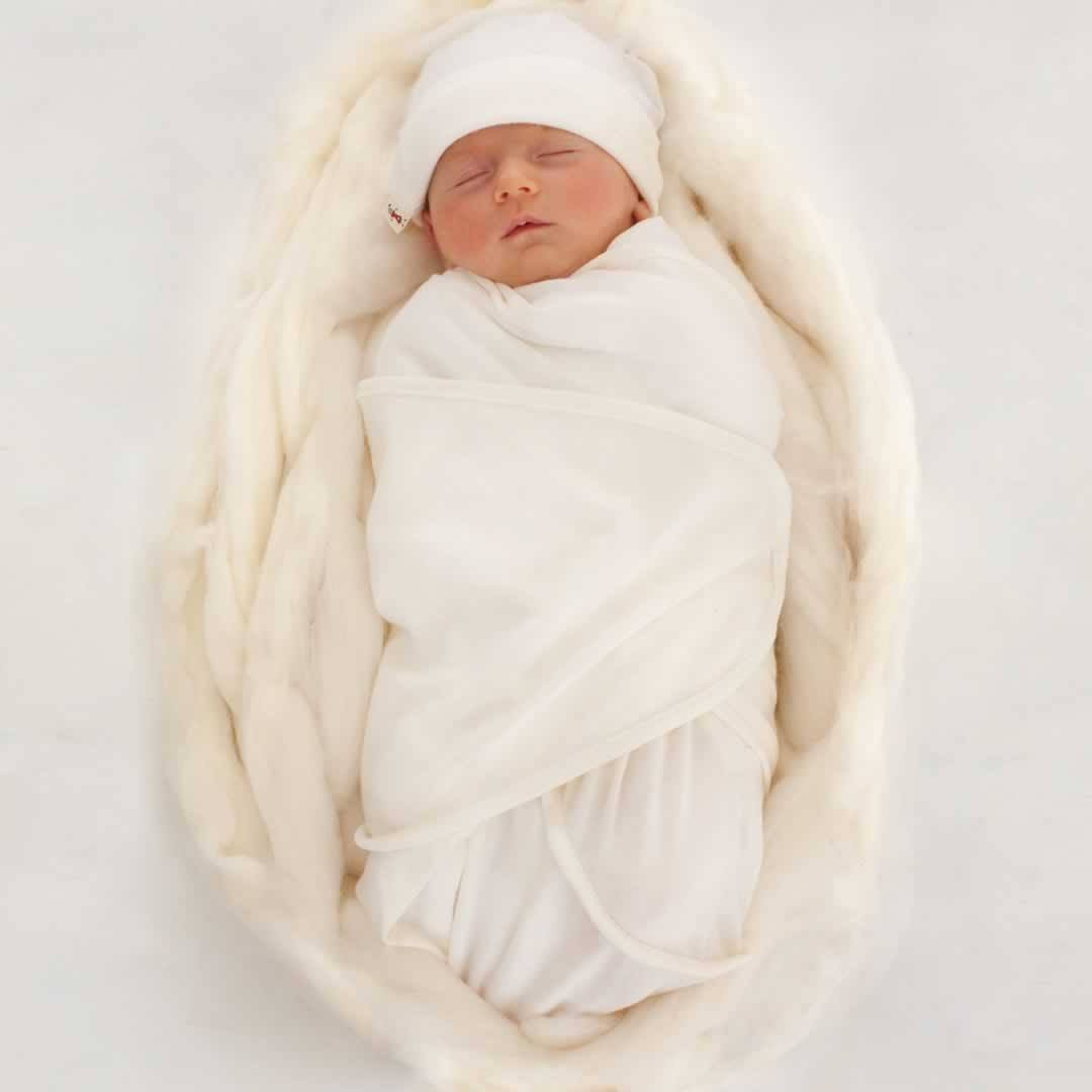 Merino Kids Cocooi Swaddle & Hat - Cream - Newborn Sets - Natural Baby Shower