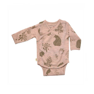 Merino Kids Cocooi Long Sleeve Kimono Bodysuit - Misty Rose-Bodysuits- Natural Baby Shower