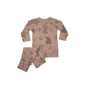 Merino Kids Essential Pyjamas - Bear Print - Misty Rose-Pyjamas- Natural Baby Shower