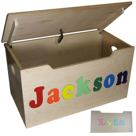 Personalized light brown toy box wooden