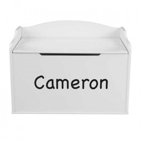 Personalized White Austin Toy Box | Toy Box City