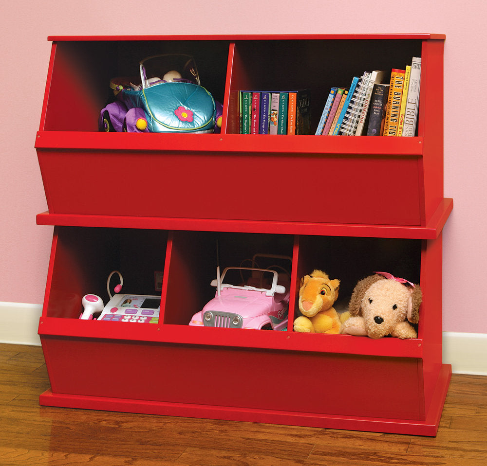 Badger Double Stackable Storage Cubbies - Red | Toy Box City
