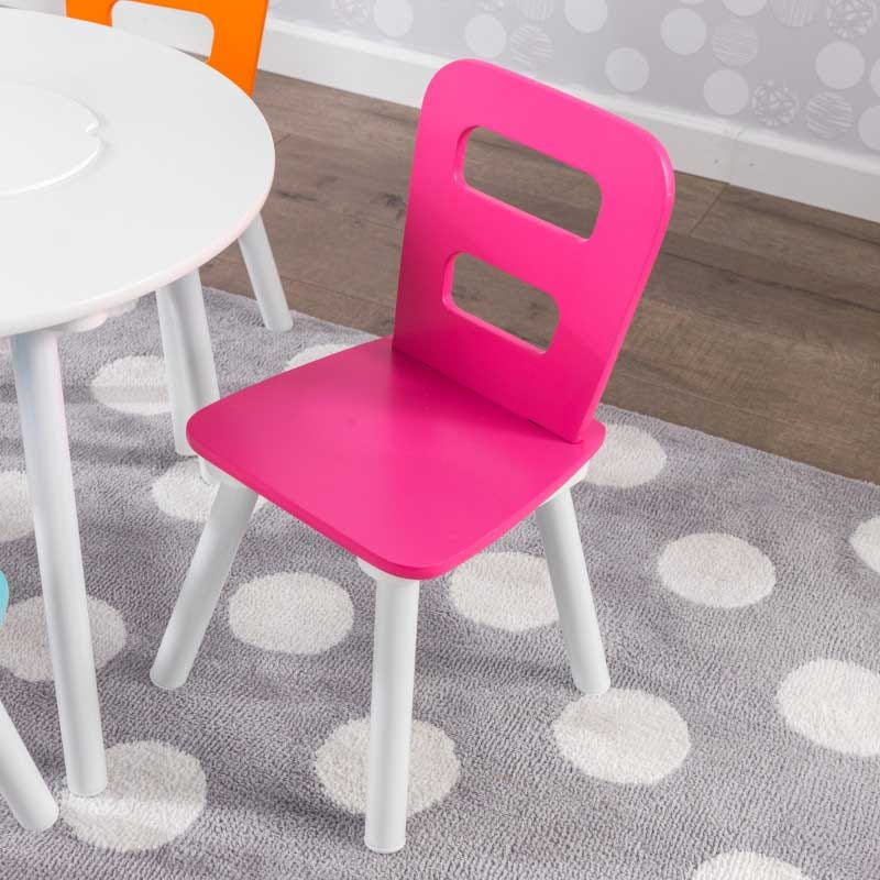 Round Kids Storage Table and 4 Chairs Set - Colorful by Kidkraft