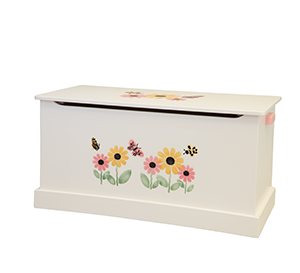 White Amish Toy Box with Design | Toy Box City