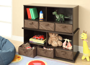Badger Shelf Cubby with Baskets - Espresso | Toy Box City