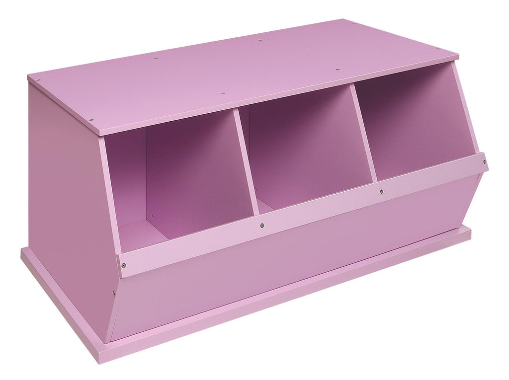 Badger Three Bin Stackable Storage Cubby - Lilac | Toy Box City