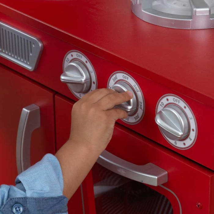 Vintage Play Kitchen Toy for Kids – Red + Other Colors