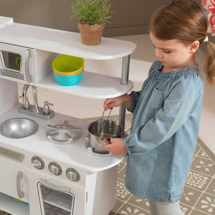 Vintage Play Kitchen Toy for Kids – White