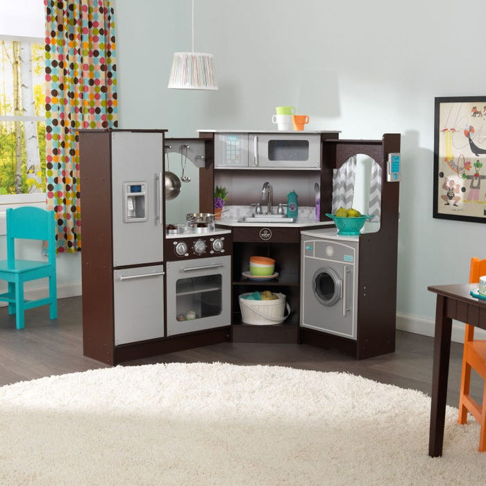 Ultimate Corner Play Kitchen with Lights & Sounds – Espresso