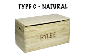 Solid Wood Personalized Toy Chest  - Personalized - Unfinished Available.
