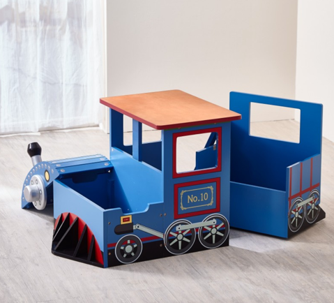 Little Captain Train Writing Desk and Storage Bench Set | Thomas The Tank Engine Look