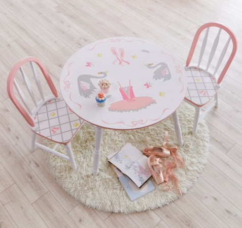 Swan Princess Lake Table and 2 Chairs Set | Pink and White Girls Kids Chairs