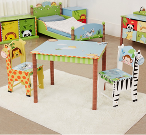 Sunny Safari Table and 2 Chair Set | Kids Jungle Table with Animals