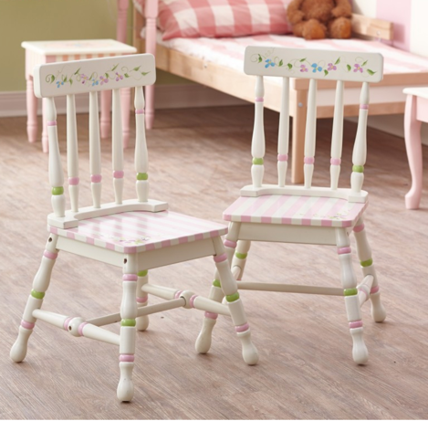 Bouquet Flower Set of 2 Chairs | Pink Stripe Chairs