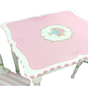 Bouquet Flower Table & Set of 2 Chairs | Pink Stripe Chairs