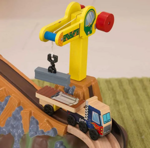 Wooden Construction Truck and Train Set for Kids and Toddlers