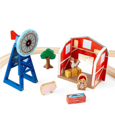 Wooden Farm Truck and Tractor Set with Animals for Kids