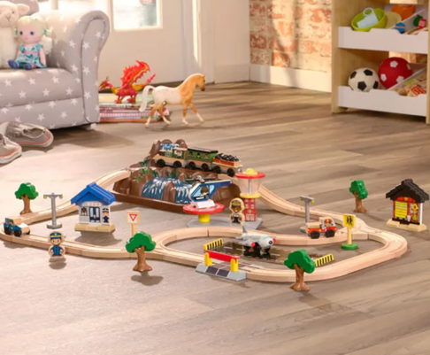Bucket Top Wooden Mountain Train Set - Magnetic Cart
