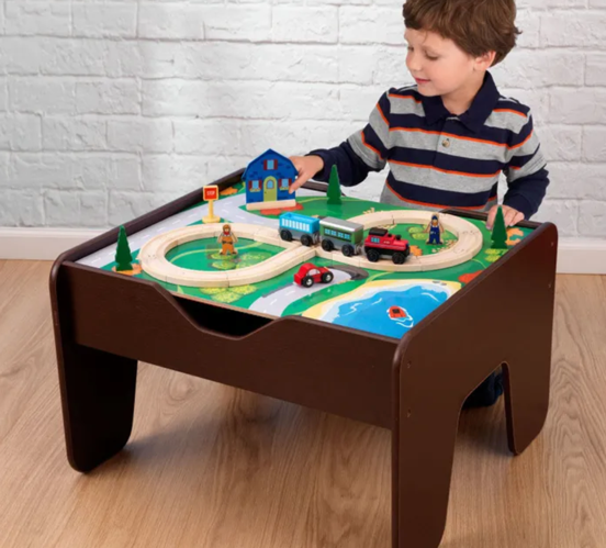 2 in 1 Activity Lego Table Espresso with Board for Kids by Kidkraft