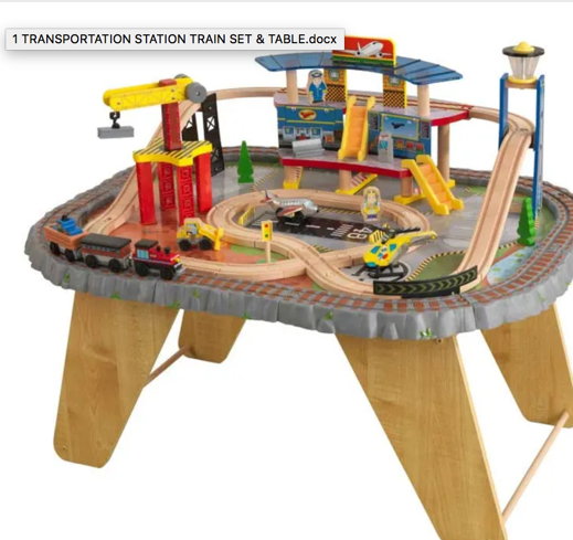 Large Transport Wooden Train Set with Airport and Helicopter by Kidkraft